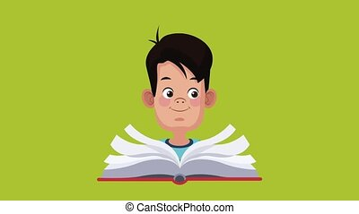 Cute and intelligent student boy HD animation