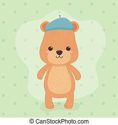 cute and little bear teddy character