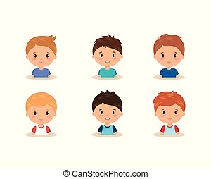 cute and little boys group vector illustration design