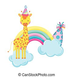 cute and little giraffe with party hat and rainbow