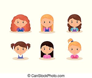 cute and little girls group vector illustration design