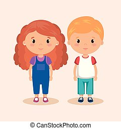 cute and little kids couple vector illustration design