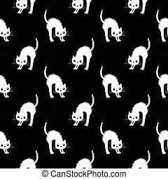 Cute and modern seamless vector pattern with white cats on black background for textile and clothing
