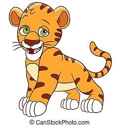 shy tiger cub - cute and shy tiger cub is smiling