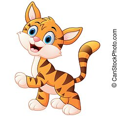 cute and shy tiger cub is smiling - vector illustration of...