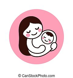 Cute and simple drawing of Mom holding baby. Hand drawn doodle of woman with newborn child. Isolated vector clip art illustration.