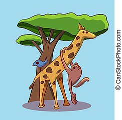 cute and simple vector cartoon animals isolated