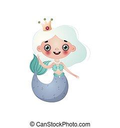 cute, anføreren, bekranse, isoleret, hår, baggrund, pige, hvid, havfrue
