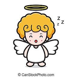 cute angel cartoon character sleeping