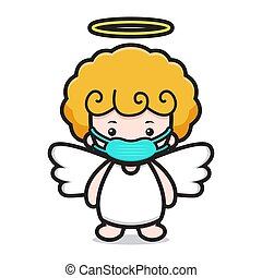cute angel cartoon character wearing mask