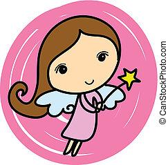 Cute angel. Cartoon vector illustration