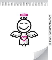 cute angel - cute cartoon angel on realistic paper page