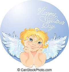 Cute angel in the round frame. Valentines Day card design.
