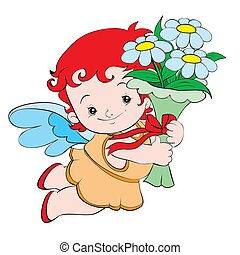 cute angel mc with a bouquet of flowers in hands, isolated object on white background, cartoon illustration, vector,