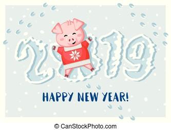 cute, angel., neve, porca, fazer, novo, 2019., year!, mentindo, feliz