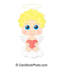 Cute angel with heart
