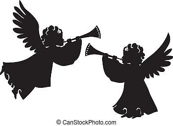 Cute angels silhouettes set with trumpet