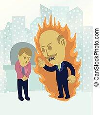 Cute angry boss illustrarion vector art