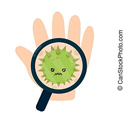 Cute angry evil bad fly germ virus