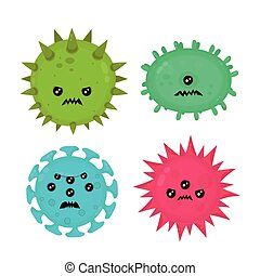 Cute angry evil bad fly germ virus