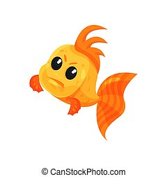 Cute angry goldfish, funny fish cartoon character vector Illustration on a white background