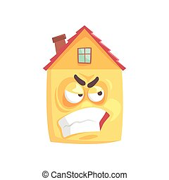 Cute angry house cartoon character, funny facial expression emoticon vector illustration