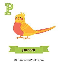cute, animais, animal, engraçado, parrot., crianças, p, vector., alfabeto, letter., caricatura