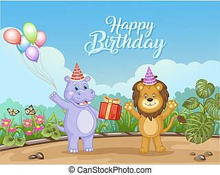 cute, animais, aniversário, desenho, cartão, feliz