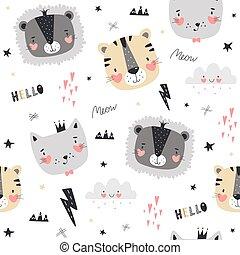 cute, animais, padrão, seamless, escandinavo, style.