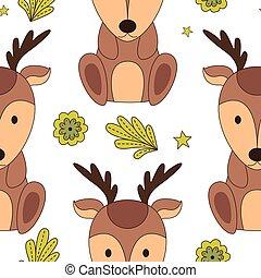 cute, animais, pattern., bosque, seamless, ilustração, caricatura, vectr, style.