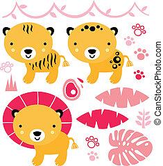 cute, animais safari, jogo, isolado, ligado