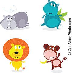 cute, animais safari, jogo