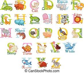 Cute animal alphabet. Funny cartoon character. A, B, C, D, E...