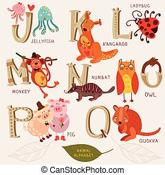 Cute animal alphabet. J, k, l, m, n, o, p, q letters. Jellyfish, kangaroo, monkeyl, numbat, owl, pig,quokka. Alphabet design in a retro style.