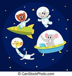 Cute animal astronauts, spacemen - elephant, giraffe, hippo, bear - in space