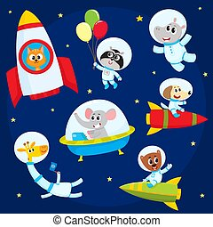 Cute animal astronauts, spacemen flying in rockets, space suits, ufo