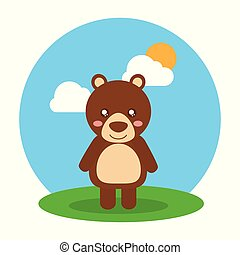 cute animal baby bear standing in field clouds and sun