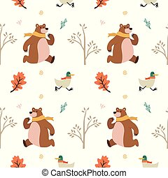 cute animal bear duck leaf sprout fall winter seamless pattern vector download