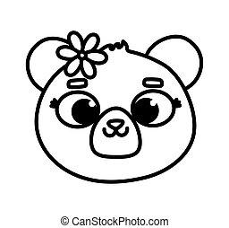 cute animal bear face with flower cartoon thick line