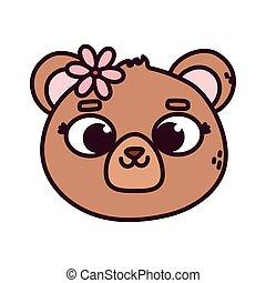 cute animal bear face with flower cartoon
