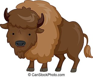 Cute Animal Brown Bison - Cute Animal Illustration Featuring...