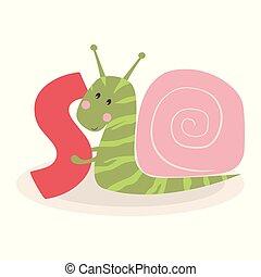 cute, animal, caracol, alfabeto