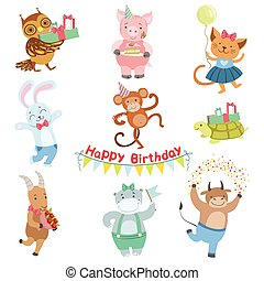 Cute Animal Characters Attending Birthday Party Celebration Set
