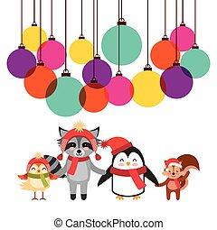 cute animal christmas celebration card
