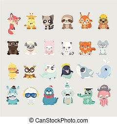 cute, animal, collection.