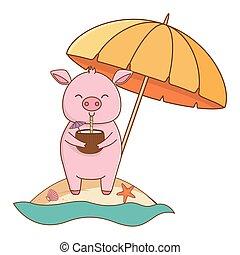 cute animal enjoying summer time cartoon