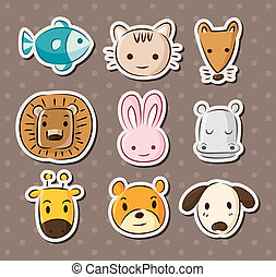 cute animal face stickers