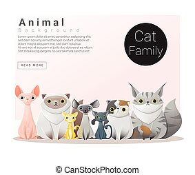 Cute animal family background with Cats 1