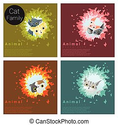 Cute animal family background with Cats 5
