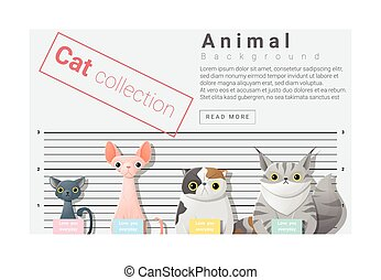 Cute animal family background with Cats, vector ,...
